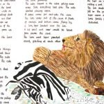 Illustrated writing - lion and zebra