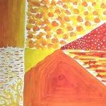 powder paint skills - orange textures