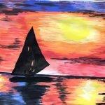 powder paint sunset boat