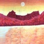 powder paint sunset landscape